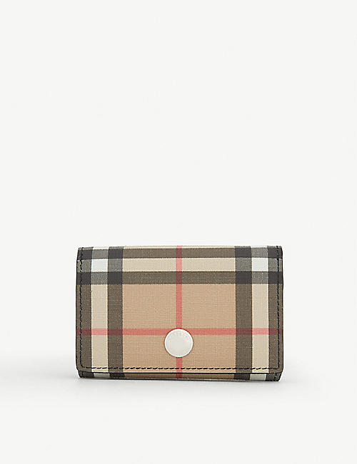 BURBERRY Vintage-check canvas-coated leather purse