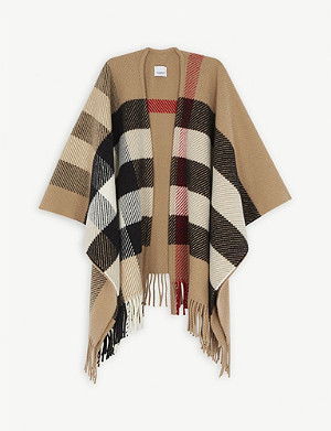 BURBERRY Giant check wool-blend knitted cape