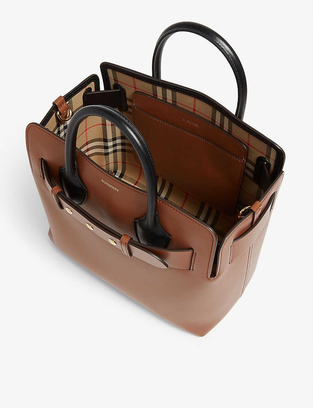 87b27e1a7 ... Belt leather bag - Malt brown check zoom