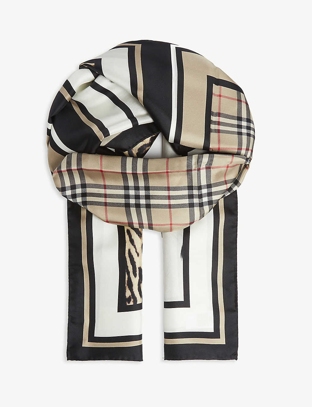BURBERRY: Animal print silk scarf
