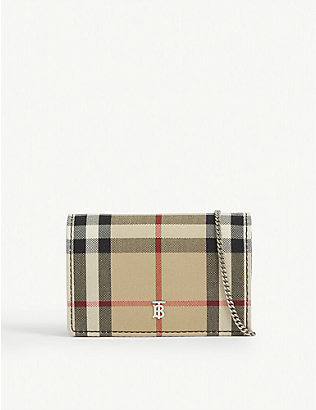 BURBERRY: Jessie vintage check canvas card case with chain