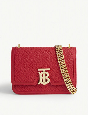 BURBERRY Monogram-print leather shoulder bag