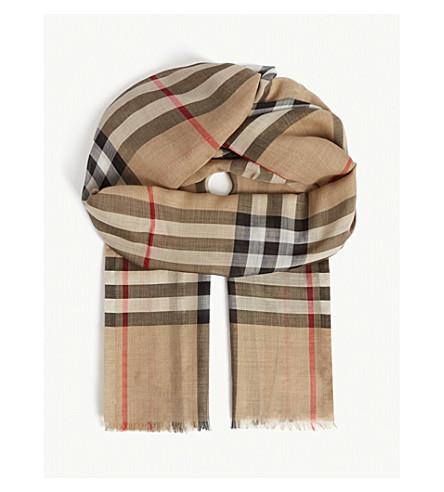 Burberry Lightweight Giant Check Wool & Silk Scarf In Beige