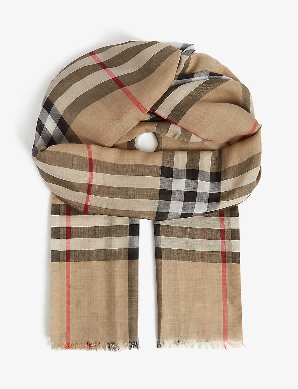 BURBERRY: Giant check wool-silk scarf