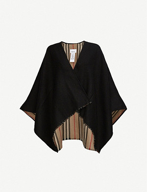 BURBERRY Icon stripe-lined reversible wool cape