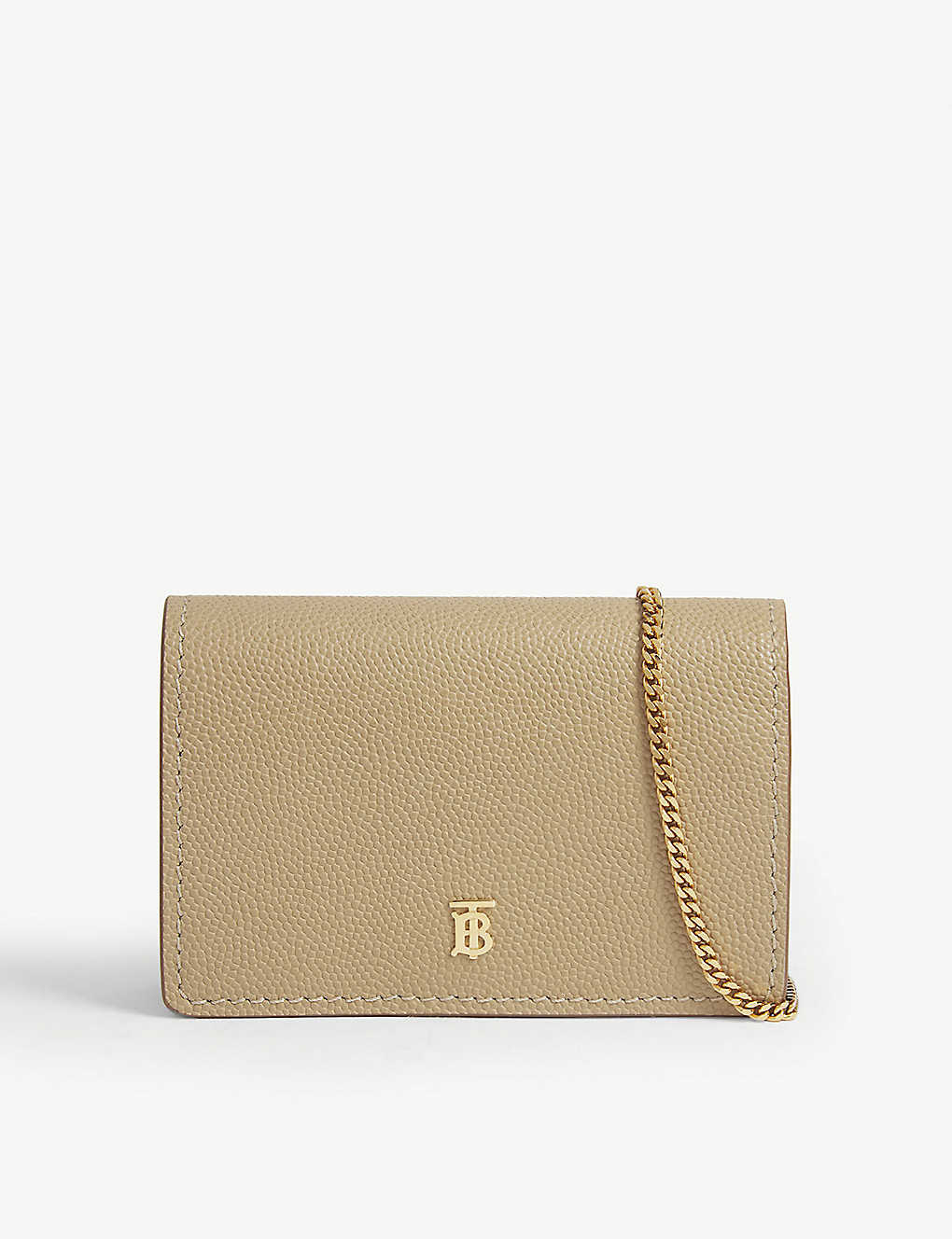 BURBERRY: Jessie leather card case with chain