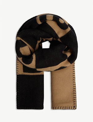 BURBERRY Checkered monogram wool and cashmere scarf