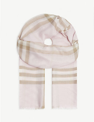BURBERRY: Giant check silk and wool scarf