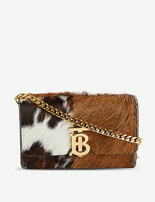 BURBERRY Jessie panelled ponyhair leather cardholder