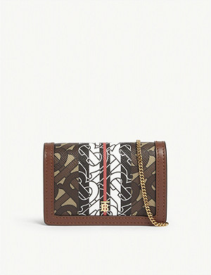 BURBERRY Jessie monogram leather card holder on chain