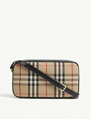 BURBERRY Checked leather camera bag
