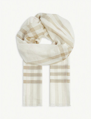 BURBERRY Lightweight checked gauze scarf