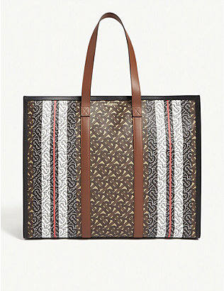 BURBERRY: TB monogram E-canvas tote bag