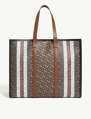 BURBERRY TB monogram E-canvas tote