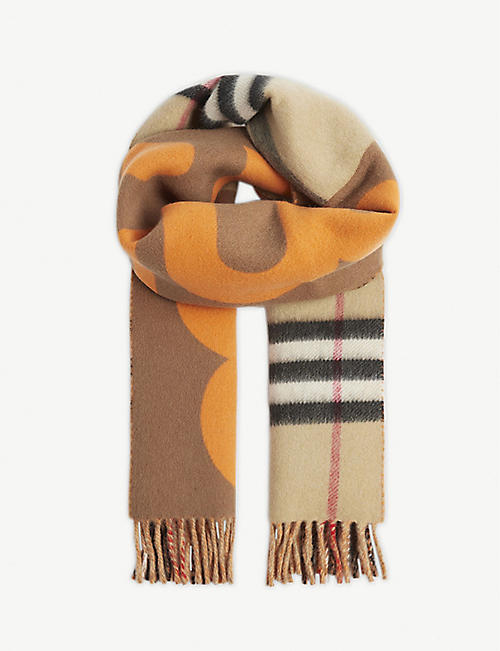 BURBERRY Check monogram print wool scarf