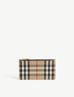 BURBERRY Somerset check and leather card case