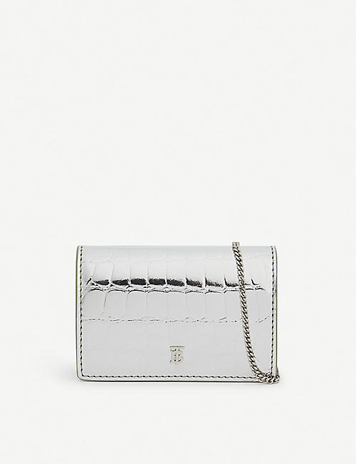 BURBERRY: Jessie croc-embossed card case with chain