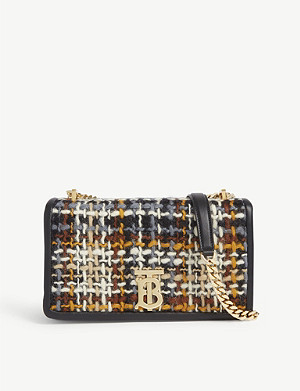 BURBERRY Lola small tweed and leather cross-body bag