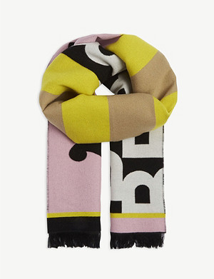 BURBERRY Wool and silk football scarf