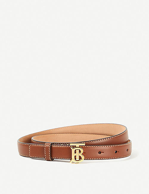 BURBERRY: Logo-buckle leather belt