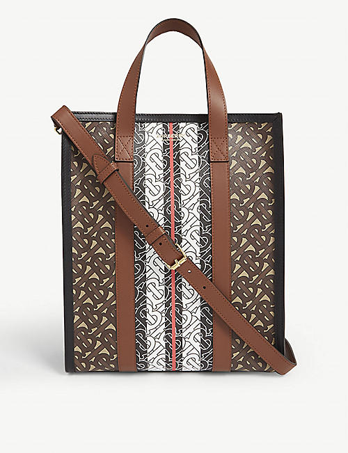 BURBERRY TB monogram print tote bag