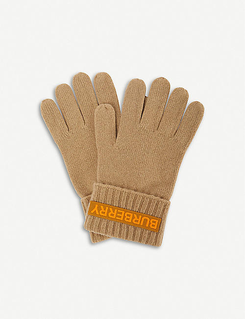 BURBERRY: Kingdom logo cashmere gloves