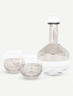 TOM DIXON Tank striped glass whiskey decanter and glasses set