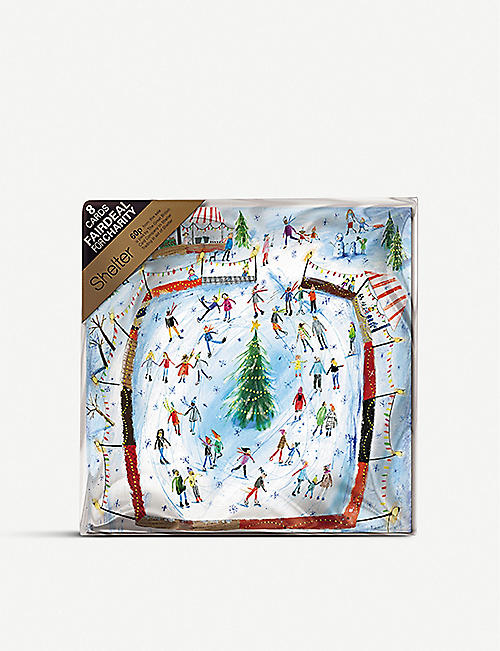 THE GREAT BRITISH CARD COMPANY Ice Skating Christmas greetings card 16cm x 16cm