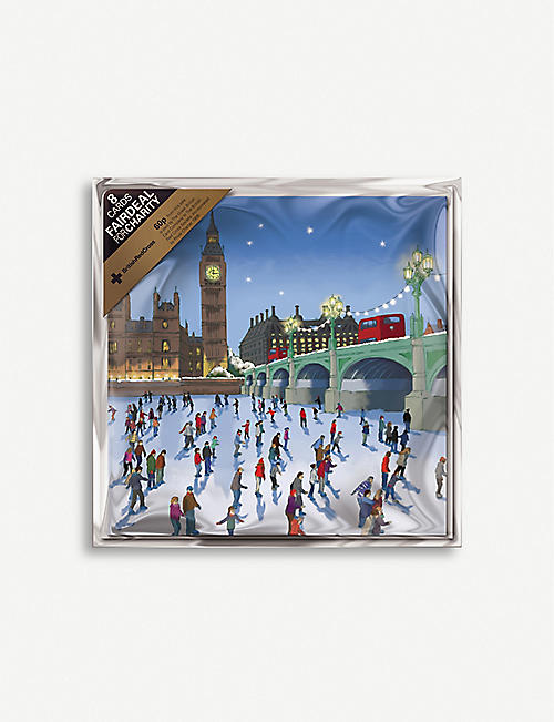 THE GREAT BRITISH CARD COMPANY Skating on the Thames Christmas greetings card 10cm x 10cm