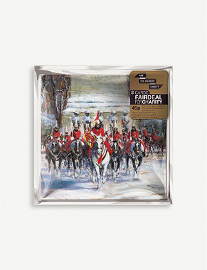 THE GREAT BRITISH CARD COMPANY Horse guards parade greetings cards pack of eight 9.9cm x 9.9cm