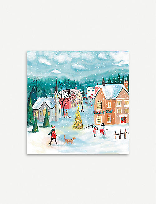THE GREAT BRITISH CARD COMPANY Snowy Village pack of 20 Christmas cards
