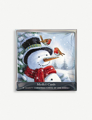THE GREAT BRITISH CARD COMPANY Snowman greetings cards pack of six 14cm x 14cm
