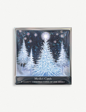 THE GREAT BRITISH CARD COMPANY Starry tree greetings card pack of six 14cm x 14cm