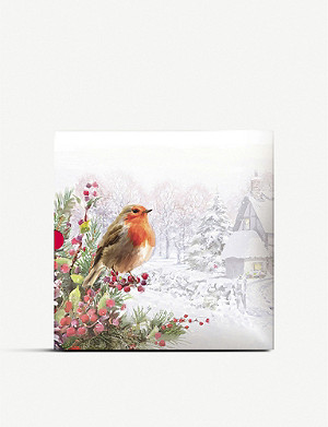 THE GREAT BRITISH CARD COMPANY Christmas robin greeting cards pack of 16