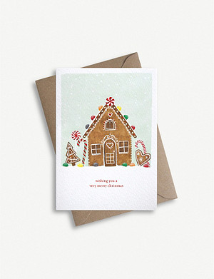 PARADE Gingerbread house greetings card 11.4cm x 16.2cm
