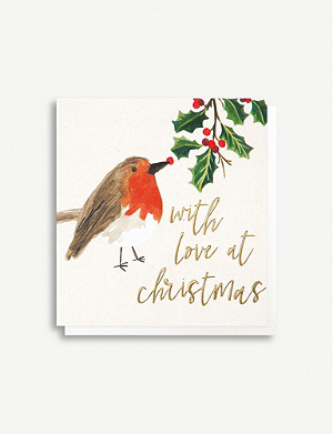CAROLINE GARDNER Robin with Love Christmas card pack of five