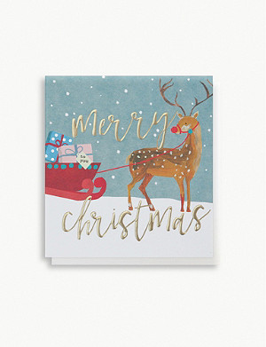 CAROLINE GARDNER Pack of five deer with sleigh greetings cards 14.8cm x 14cm