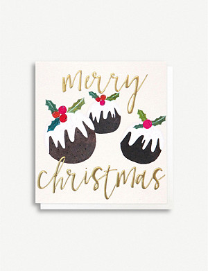 CAROLINE GARDNER Pudding Christmas card pack of five
