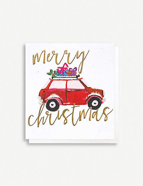 CAROLINE GARDNER Pack of five car with presents greetings cards 14.8cm x 14cm
