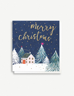 CAROLINE GARDNER Pack of five house in snow greetings cards 14.8cm x 14cm