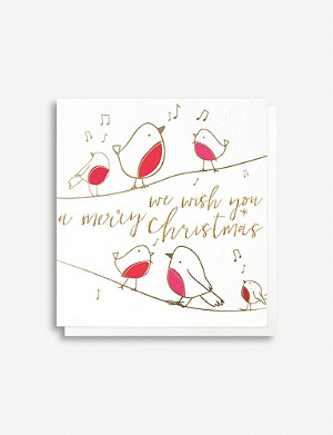 CAROLINE GARDNER Singing robin Christmas greetings cards pack of five