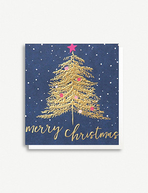 CAROLINE GARDNER Tree Merry Christmas greetings cards pack of five