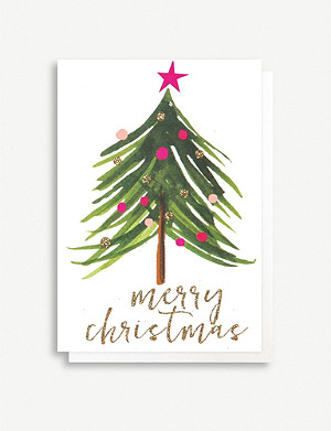 CAROLINE GARDNER Christmas tree Christmas greeting cards pack of five