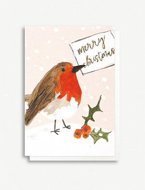 CAROLINE GARDNER Robin Christmas greetings cards pack of five