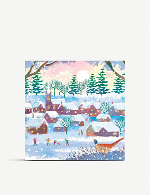 MUSEUMS AND GALLERIES Snow in the Village Geese Charity Christmas card set pack of 8