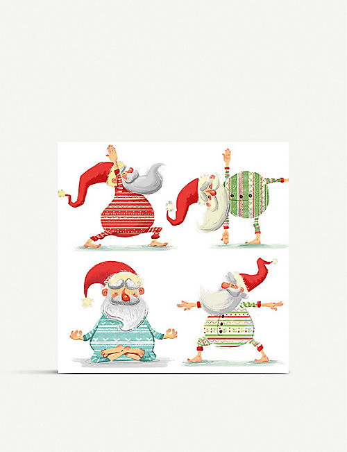 MUSEUMS AND GALLERIES Yoga Santa Charity Christmas card set pack of 5