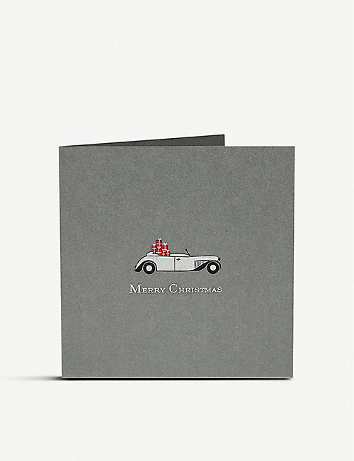 JULIE BELL Car full of presents Christmas card 14.8cm
