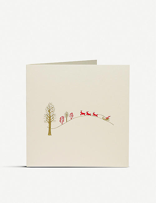 JULIE BELL Santa's Sleigh engraved Christmas card