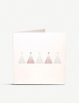 JULIE BELL Typographic trees Christmas card pack of 10