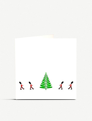 JULIE BELL Soldiers and tree Christmas card pack of 10